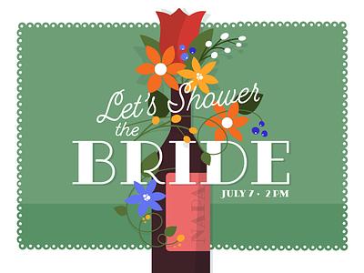 Bridal Shower Invite invitation alchohol drink illustration party wedding floral vase flowers napa wine bridal shower shower bride