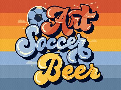 Art Beer Soccer poster groovy drinks stars event rainbow sports lettering 70s retro soccer beer art