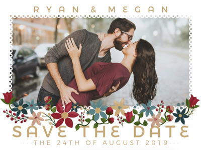 Save The Date flowers couple marriage floral frame weddings invitation save the date