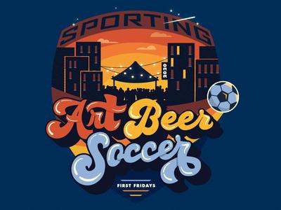 Art Soccer Beer vector patch sports design event branding illustration lettering retro logo shield badge festival first fridays kansas city sporting sporting kc beer soccer art event