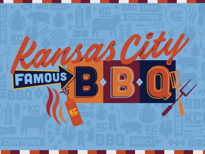 Kansas City BBQ lettering ribs saucy cowtown cooking fire pattern midwest food meat grill famous kc kansas city barbecue bbq