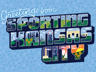 Greetings from Sporting KC skyline illustration midwest vacation confetti sporting kansas city sporting kc soccer sportingkc sporting icons city kansas city mail postcard greetings