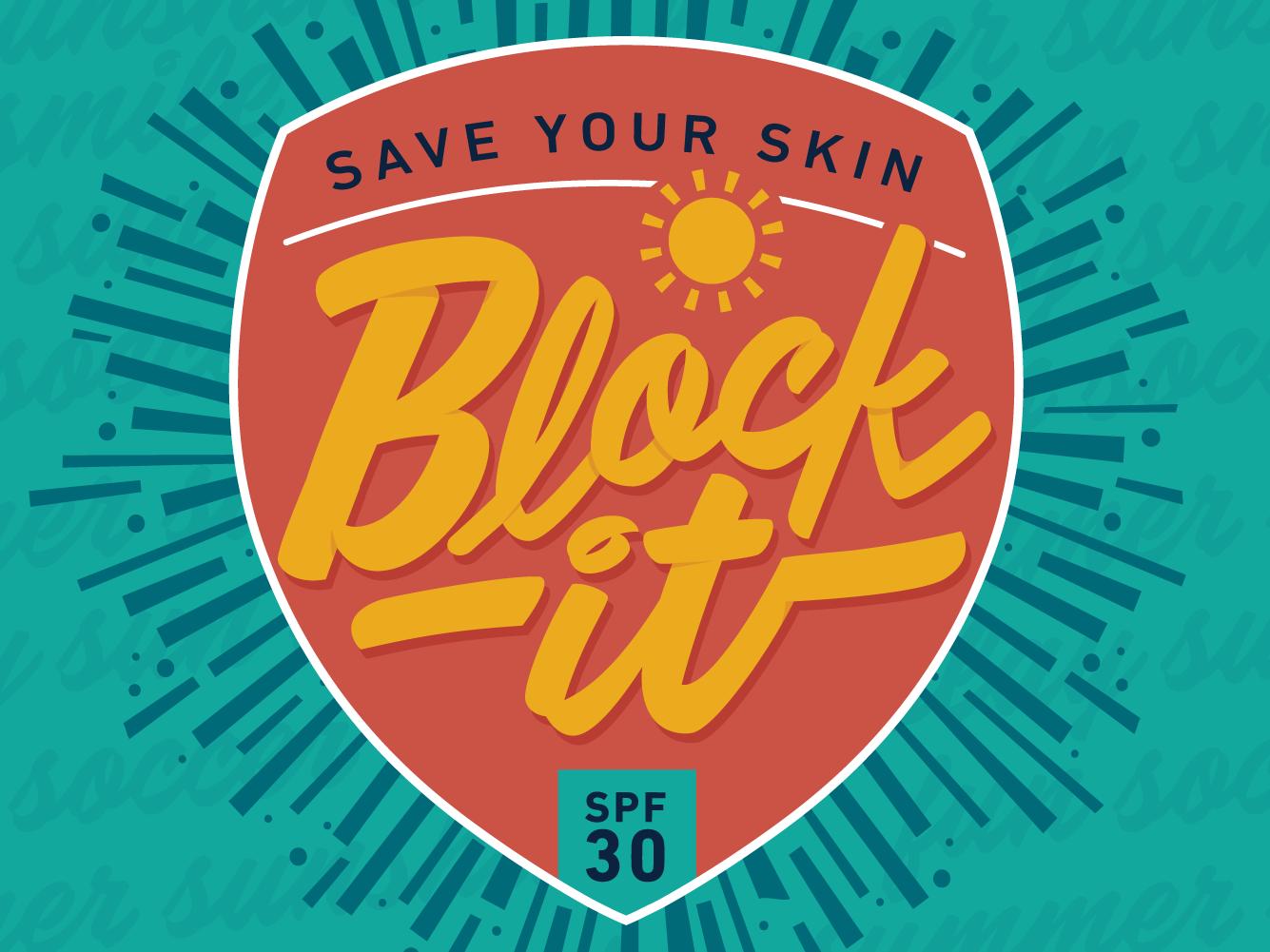 Sunscreen Campaign icon spf badge sunshine healthcare health skin save block it summer sun sunscreen