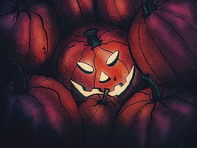 Spooky pumpkin procreate glow pumpkin patch halloween jack-o-lantern texture illustration october pumpkin