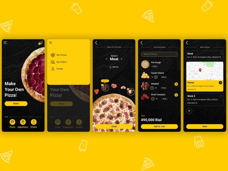 Pizza App design uiux ux ui fastfood bake make pizzair iran black yellow delicious delivery food app food cooking cook application app pizza