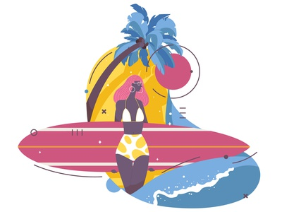 Surf girl character tropical palm sport woman one illustration girl surfer surf