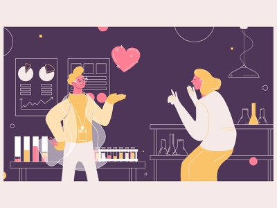 Lab of smm master science lab heart like pink concept people vector smm illustration flat