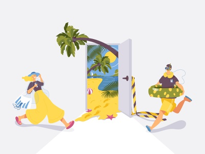 Vacation time is coming! tropical happy tourism travel vacation concept people color vector illustration flat