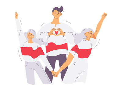 Belarus is my country artistswithbelarus characters flag white red love youth protest people illustration belarus