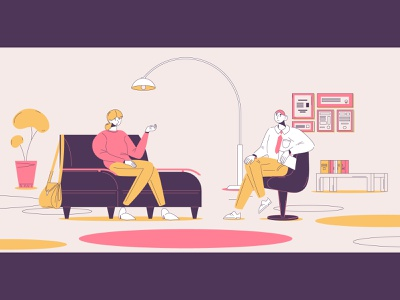 Psychotherapy scene interior consulting psychotherapist psychotherapy purple colors yellow illustration outline pink