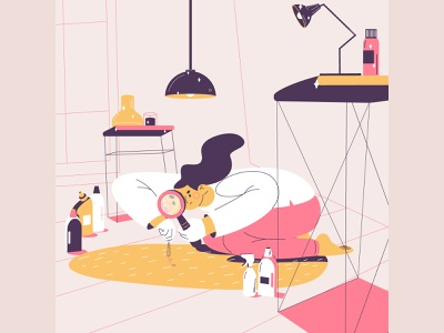 OCD cleaning obsession interior one people digital illustration depression sadness disorder ocd