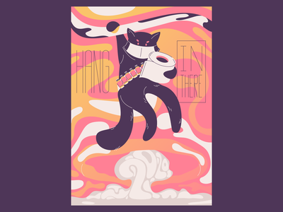 Hang in there surviver happy year 2020 disaster poster design poster motivation illustration cat