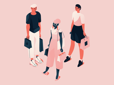 Isometric people isometric design character people vector illustration retail byuing consumers black pink color fashion