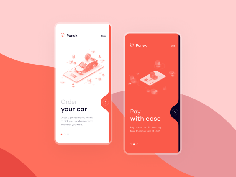 Panek CarSharing onboarding typography illustration concept ios mobile ux interface app design ui