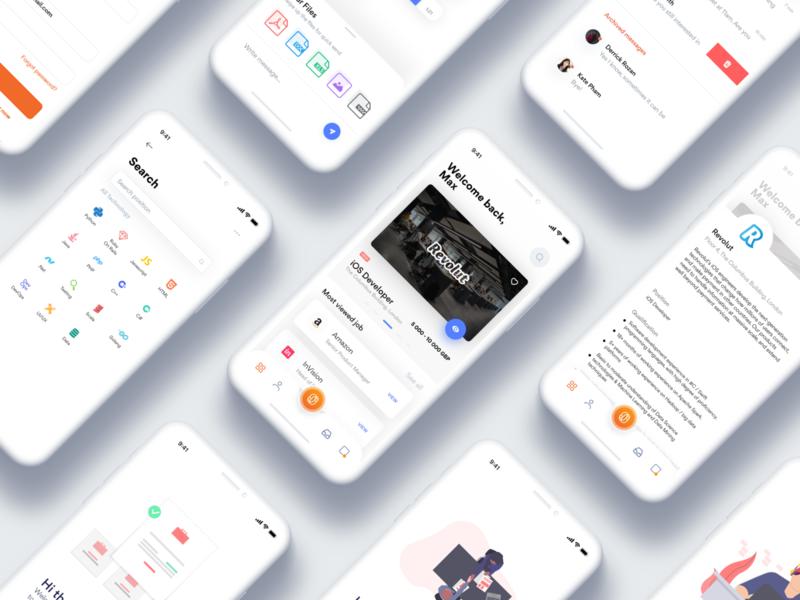 Overnise work board job basic interface ux mobile app ui design