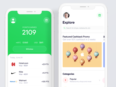 Pei - Fintech Cashback App financial services ui design cashback financial app ui bitcoin financial minimal animation mobile freelance crypto iot ios app design ios 7 ios app ios7 fintech app ios fintech
