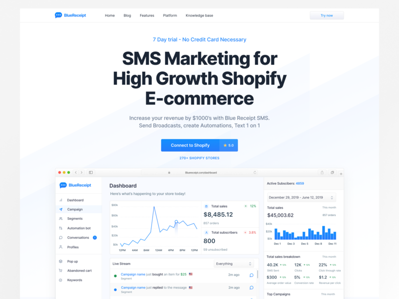 Blue Receipt - Landing page product design crypto mobile illustration financial ios fintech iot development iota saas app saas website saas design saas landing page dribbble digital dailyui drawing design