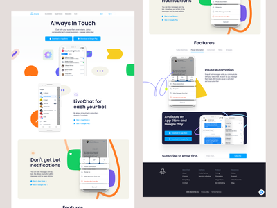 Manychat - Mobile Experience Landing Page minimal crypto animation freelance ios fintech iot character mobile design mobile app design mobile ui mobile app chatbot manychat chat marketing chat mobile
