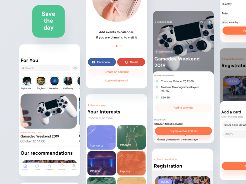 Save The Day - Mobile Event Application insurtech medtech real estate map clean calendar airbnb booking app design financial app illustration finance freelance crypto animation mobile ios fintech iot