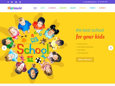 Kids World - Children, Education WordPress Theme website design web responsive education kids ecommerce theme wordpress