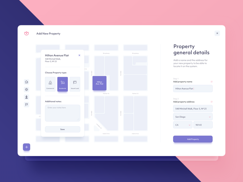 Add Property - UI Design assistance platform planning pin analytics property map tooltip document collaboration interactions listing wizard dtail studio location search onboarding reports project management real estate ui  ux dashboad web app interface