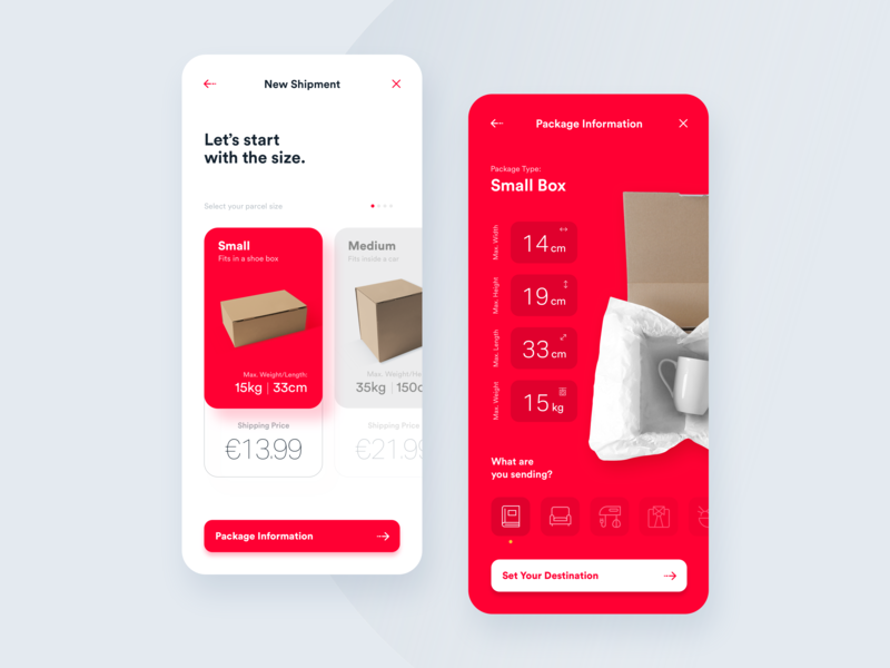 Delivery App - Create New Shipment app tracking app boxes driver parcels ui  ux interactions shipments location mobility interface data delivery app shipping management analytics ux design