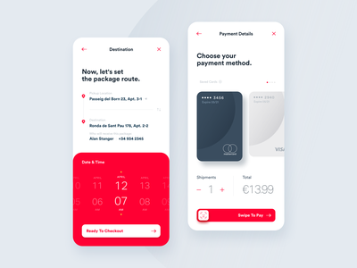 Set Destination & Checkout face id interface data checkout credit cards analytics ui ux design mobility delivery delivery app shipping app shipping interaction ui ux parcels driver boxes payment tracking app app