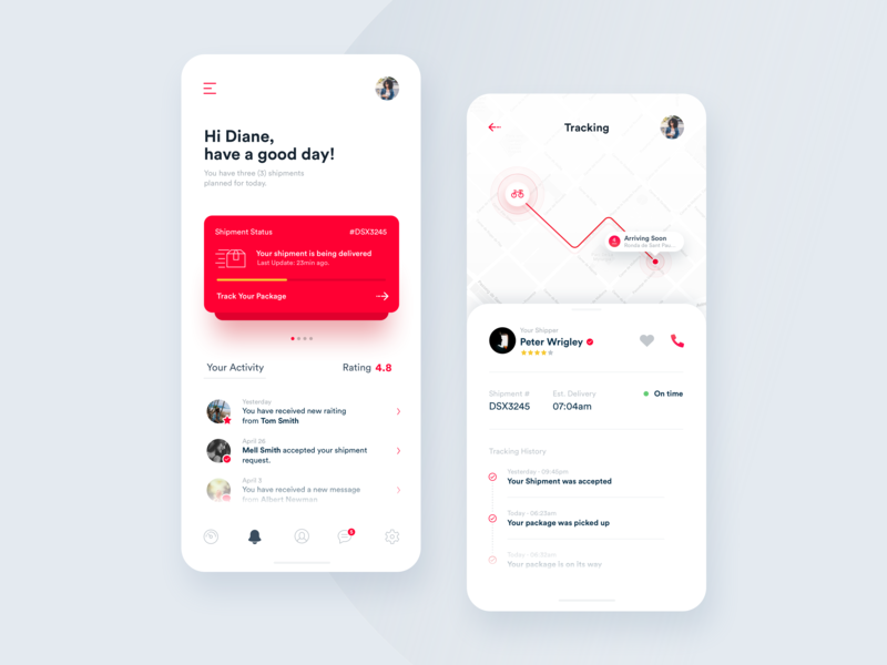 Notifications & Tracking Screens activity ui ux design ui  ux shipping app shipping management shipping location shipments driver parcels delivery interaction tracking app interface mobility delivery app analytics data boxes app