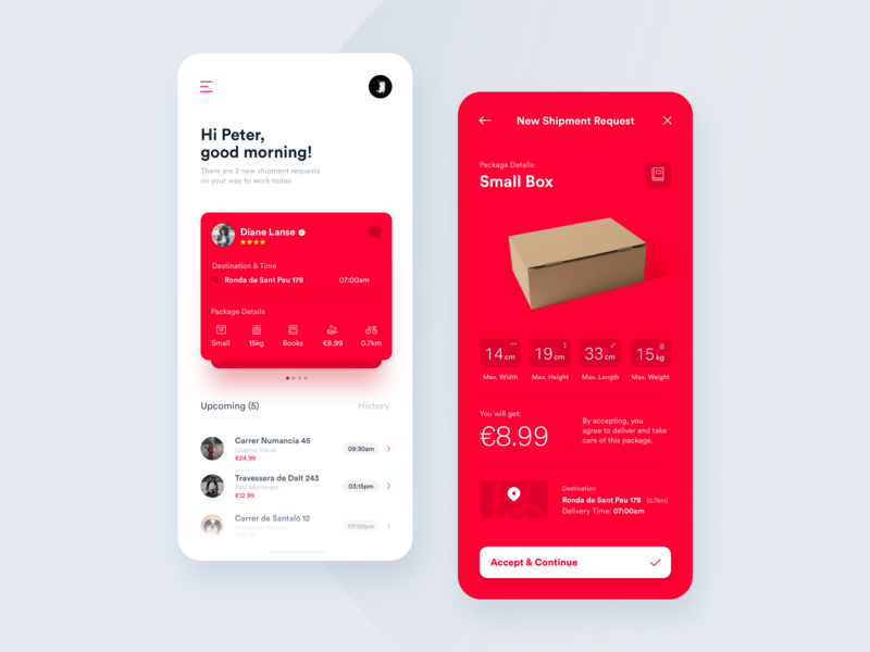Welcome Screen & Shipment Request Notification tracker ui ux design parcels shipping management shipping app shipments minimal location mobility ui  ux tracking app delivery interaction interface driver delivery app data boxes app analytics