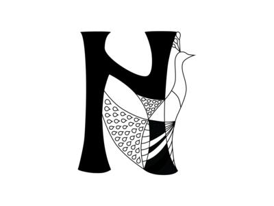 Art Nouveau Drop Capital N