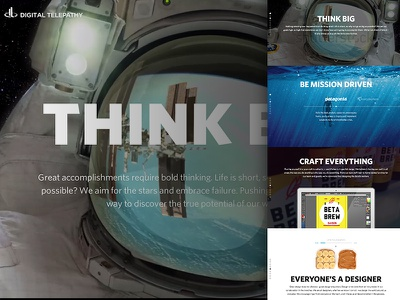 The DT Way homepage 100 scroll-hijack one page think big space craft photography