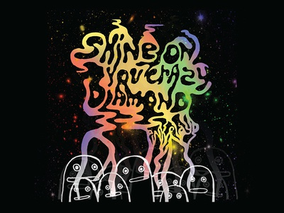 Shine on You Crazy Diamond illustration colorful pink floyd fingers