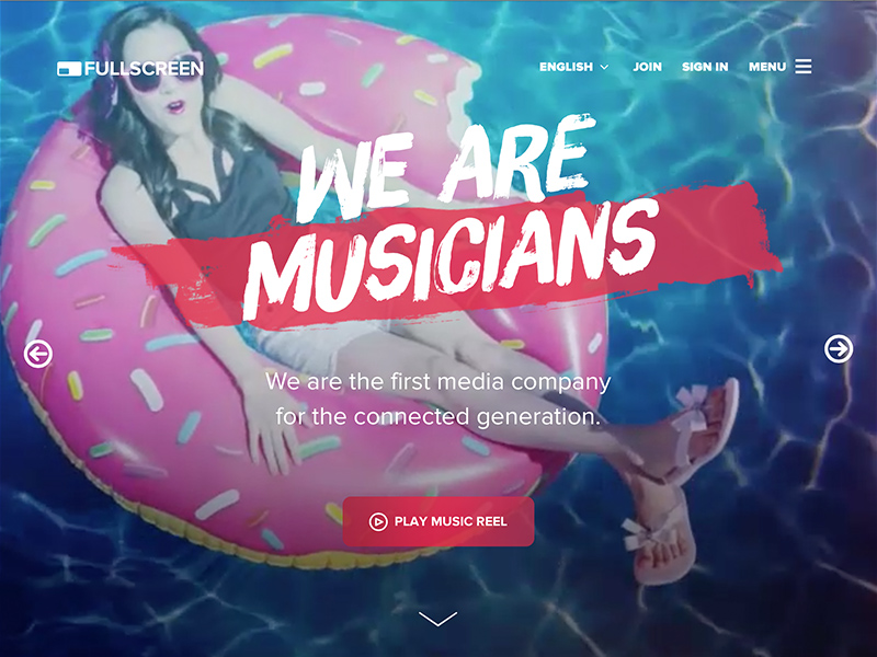 Design Teardown: Fullscreen fullscreen video creators brands proxima nova brush up musicians colorful youtube impact