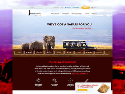 Aardvark Safaris Homepage safari homepage marketing trip elephant africa personalized