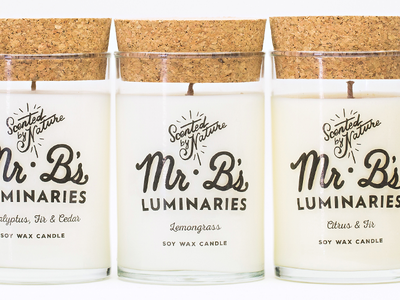 Mr B's. Luminaries Rebrand soap branding brand shop illustratration logo candle