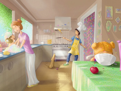 Family cartoon character painting digital illustration love conceptart familia cartoon familiy