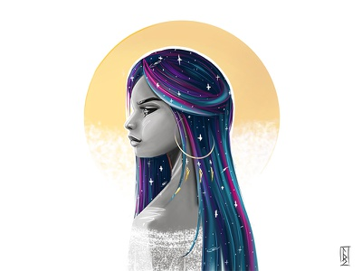 Sunday and moon light cartoon character drawing beautiful girl art painting love digital magic conceptart illustration