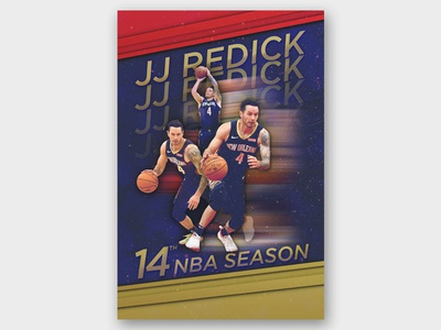 JJ Redick: 14th NBA Season digital art jj redick nba poster basketball player sports new orleans pelicans nba basketball design typography graphic design