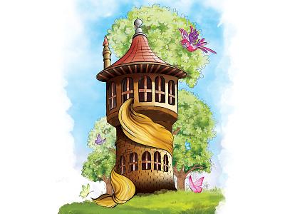 Rapunzel Tower Digital Painting rapunzel tower dijital boyama art graphicdesign digital painting digital illustration digital art designer design creative  design illustraion artwork