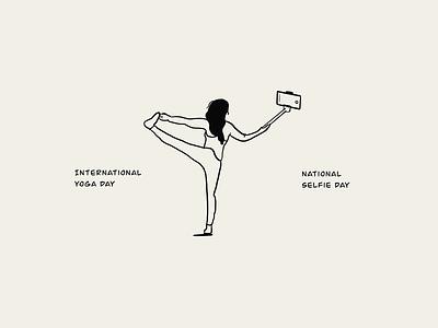 Selfieasana! selfie yoga graphic design branding ui lineart illustration sketch draw design minimal illustration art