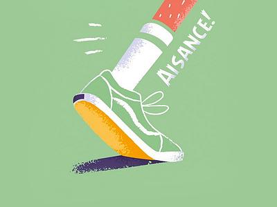Nabu - Aisance beard magazine speed feet leg run shoe illustration france beubar labeubar nantes