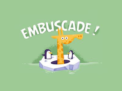 La Beubar - Embuscade france fun illustration beard beubar labeubar nantes embuscade game boardgame pinguin girafe