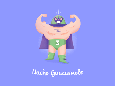 Nacho Guacamole mexico catch luchador bodybuilding fitness design character illustration 2015 nantes