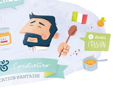 Loïc & Constantino character art italia jam apricot cooking cook food illustration la beubar nantes