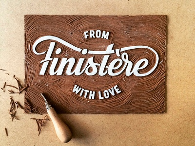 Linogravure From Finistère with Love hand lettering bretagne typography lettering finistère linogravure linocut