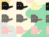 Cattern procreate blue pink doodle 2d pastel vector pattern illustration cat