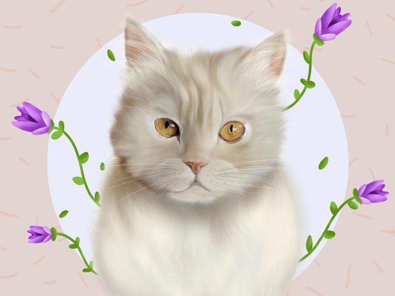 Neko ♥️ draw persiancat cute painted purple flowers procreate cat illustration