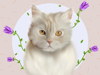 Neko ♥️ draw persiancat cute painted purple flowers procreate cat illustration