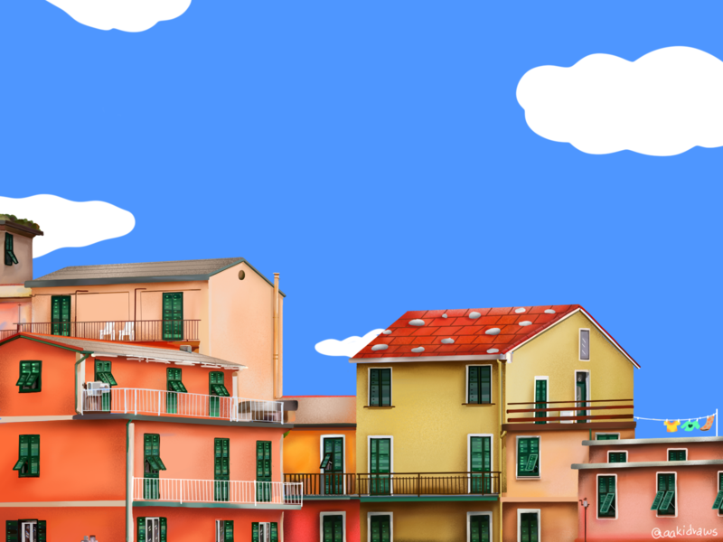 Italy <3 windows digital art buildings colourful houses clouds red green blue bright procreate doodle illustration