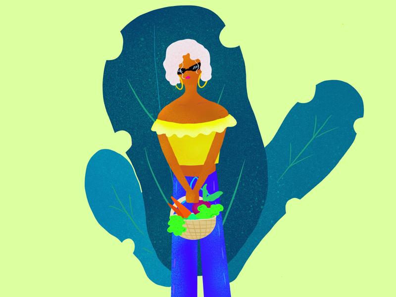wilder web green vector vegetables illustrator illustration basket fruits girl procreate